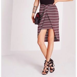 Missguided maroon stripe wrap skirt